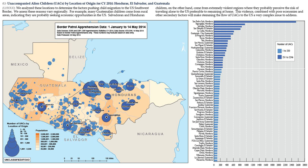 MAP - Unaccompanied Children by Location of Origin for Honduras, El Salvador, and Guatemala (2014 - Homeland Security) Click here to see larger version