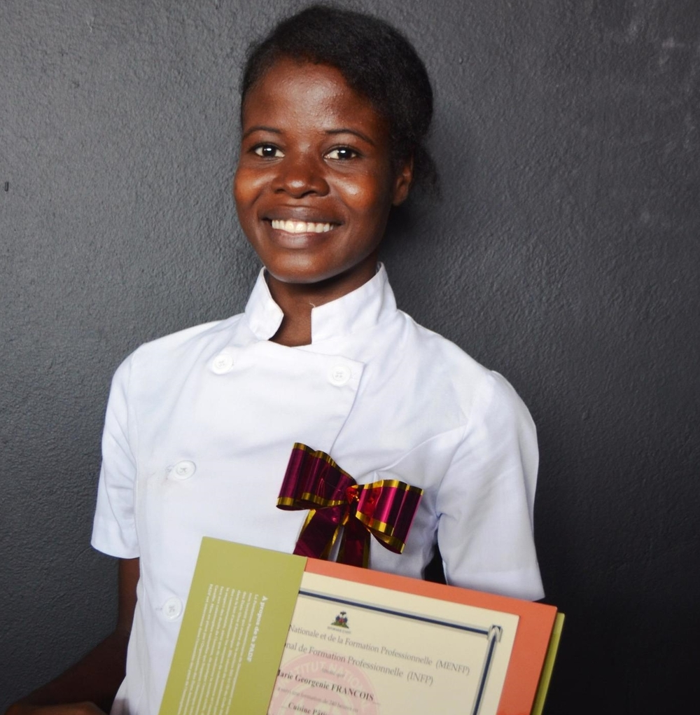François Marie Georgénie, 24, lives in Cité Soleil. She now has more job opportunities as a result of her training in cooking and pastry.
