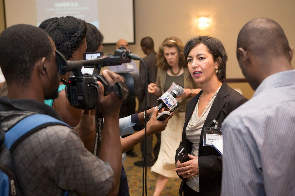 LEAD Project Director Nadia Cherrouk responds to questions from the press.