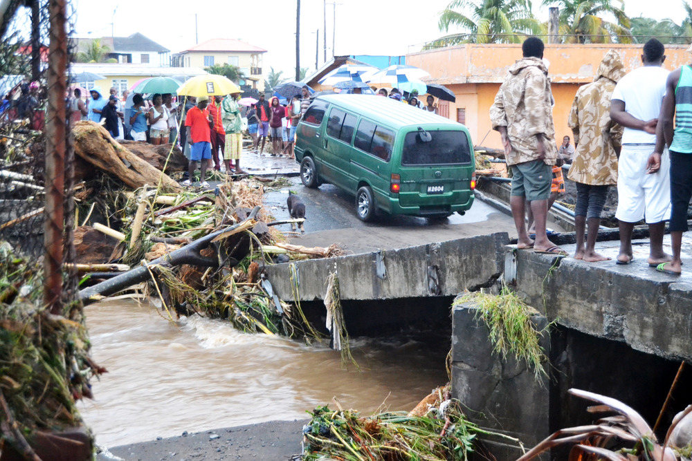 The December 2013 floods destroyed the Caratol Bridge in Georgetown, St. Vincent and the Grenadines.