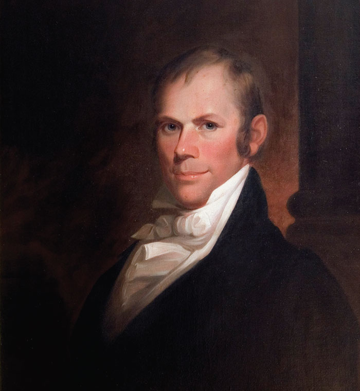 Henry Clay (1777-1852) was renowned in the Western Hemisphere as a strong proponent of pan-Americanism.   Transylvania University Matthew Harris Jouett.