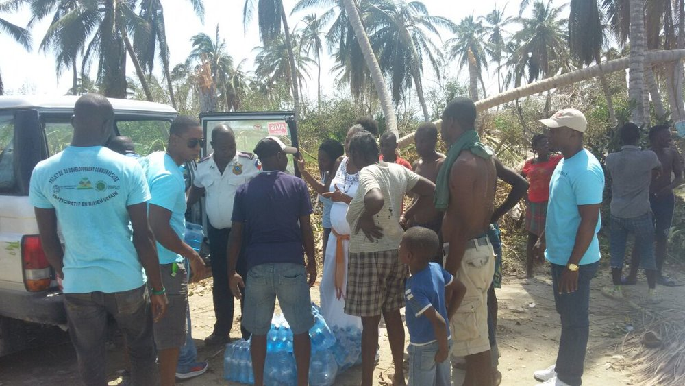 PADF delivers clean water to residents of Saint   Jean de Sud in southwestern Haiti after Hurricane Matthew. (PADF)