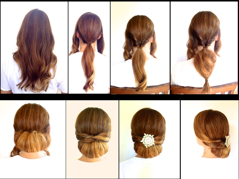 This formal style is very easy to recreate. The items you will need are 2 elastic bands for holding ponytails and some bobby pins. Begin with hair that has been curled the day before. Divide hair into front and back sections. Pull back section into low ponytail. Separate hair just above ponytail holder and loop hair through. Tease the ponytail and secure bottom with another elastic band. Roll the ponytail up and over, then secure with bobby pins. You can comb the hair gently to smooth out the bun you have created. Next, part the front section on your natural part and twist each side away from face. Pull the side twist over the top of bun and secure with bobby pins. Do the same for the other side. To finish the look, place a vintage broach or fresh flowers in the center. This formal style will look amazing for any special occasion.