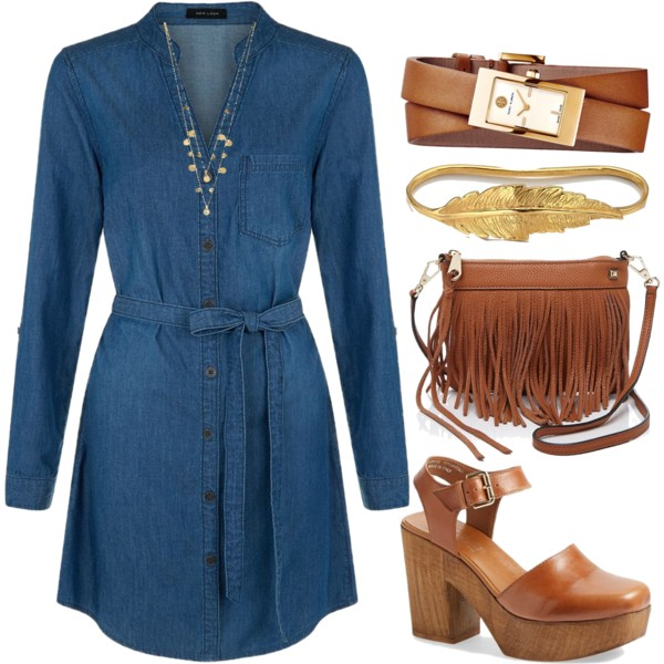 The denim shirt dress is a timeless piece of fashion that will compliment any style. For this look I wanted a 1970's retro style, so I paired a wooden and leather platform sandal with a fringe cross body bag and a double wrap watch. I added little touches of gold with a feather cuff bracelet and a gypsy necklace. You can finish the look with a fishtail side braid hairstyle.