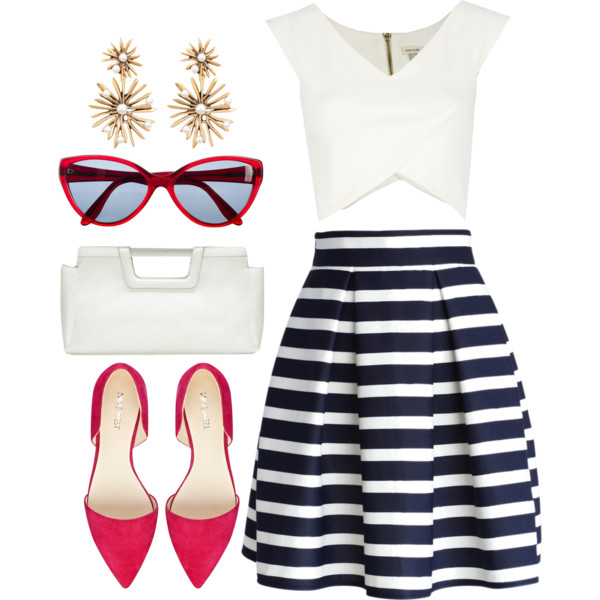 Bold stripes are everywhere this season. To give your bold stripe skirt a modern vintage look pair with a solid   color midriff top. Don't want to show too much skin? Try a tank or crew neck t-shirt.  Add pops of color with a closed toe flat and a pair of sunglasses. Accessorize with a pair of vintage drop earrings and a modern structured clutch. Finish the look with a sleek ponytail and a classic red lip.
