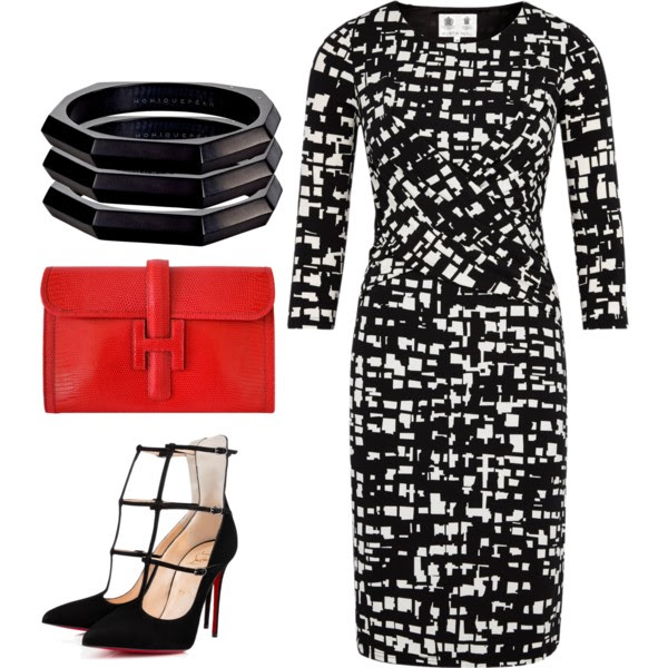 When wearing one bold print, like this  statement dress , keep the accessories simple. A few stackable bracelets or rings will add enough sparkle.  If the print is monochromatic add a pop of color with a clutch and finish the look with a structured heel. This look is powerful, bold and great for the office.