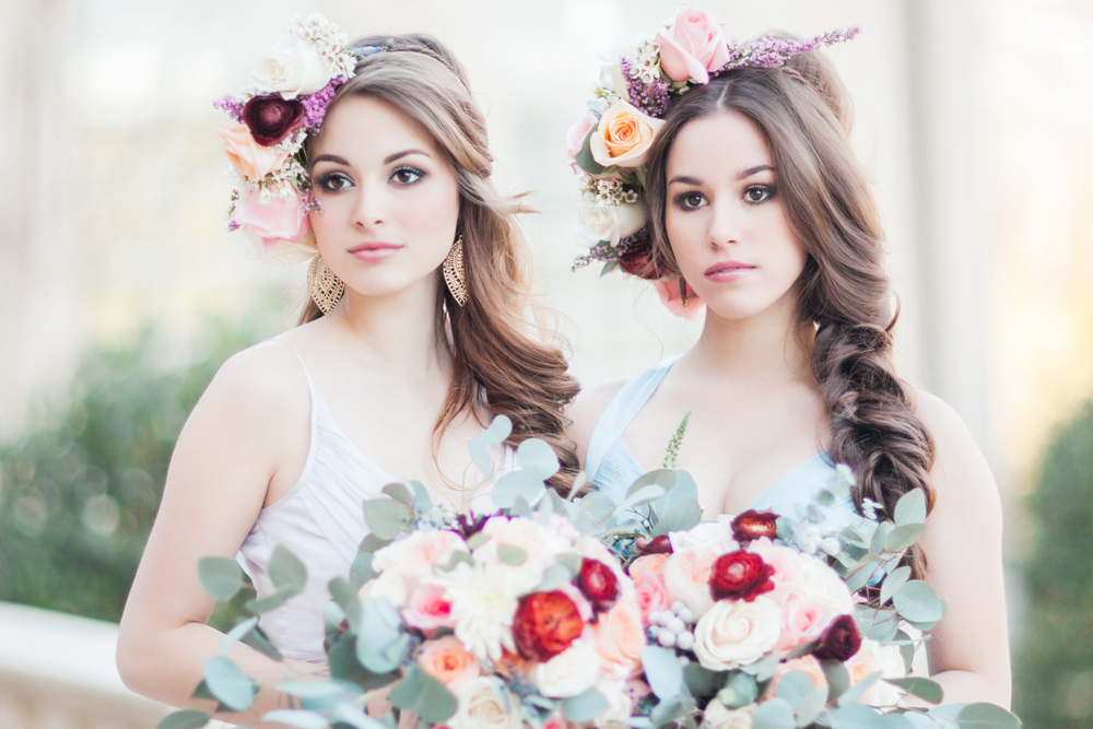 Our bridesmaids are actual sisters! I had a blast getting to know them while styling their hair and I promise they are as sweet and beautiful as they look in this picture. To see all of the amazing images click  here .  Photography/Design:  Lea Nicole Photography    Floral/Design:  Flowers by Amanda    Bride/Bridesmaids Dresses:  SAJA    Makeup:  Amy Camp Makeup Artist    Venue : Fountainview Mansion     Videography:  Southern Stream Live    Flower Girl Dress:  Rachel Benton Clothing Design