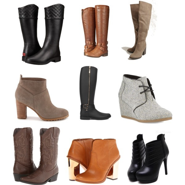 Fall is here and that means it is time for BOOTS! Finding the perfect boot can be hard especially if you are on a budget. So here are a few of my favorites that range from 45$-95$!!!! From booties to cowboy boots and rain boots to knee high boots, they can all be found on  Polyvore .