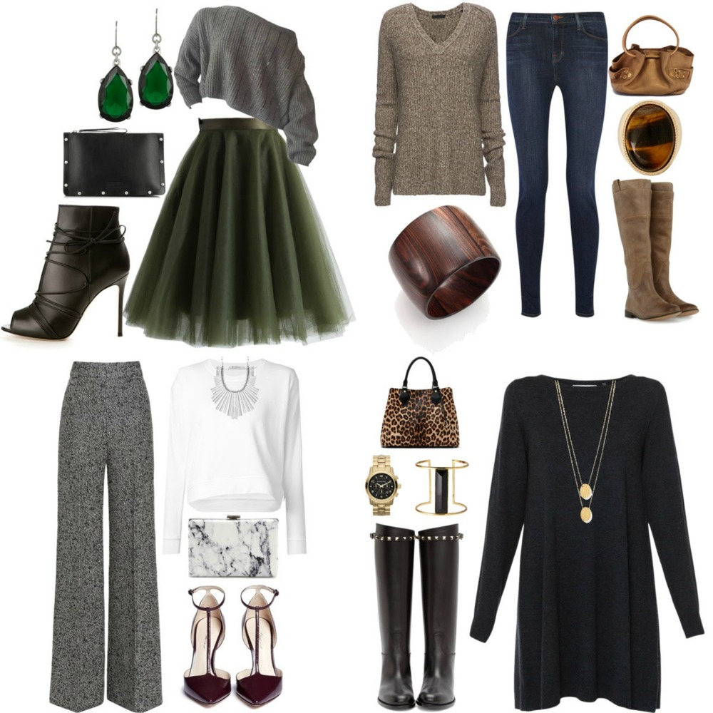 Fall is an amzing time of year to show off your personal style. But the weather can be a little unpredictable. So I created four looks that will be perfect for those light breezy fall days and also could be layered if winter comes early.   Look one is a perfect party/date night look. I paired a full circle tulle skirt with a soft off shoulder sweater. The skirt has all the drama and by choosing a neutral color top it keeps the look balanced. I finished with teardrop earrings, black open toe booties and studded clutch to give the outfit a little more edginess. Add a  black leather jacket  to keep cool at night.  Look 2 is the perfect fall outfit and easy to recreate. Start with choosing a netural tone sweater, your favorite skinny jeans and up-to-the-knee boots. Accessorize with jewelry and a bag in the same neutral tone, gold or silver. This outfit will be your fall uniform that will always make you look and feel great. Add a  double breasted coat  for the cold winter days.  Look 3 is perfect office attire. I chose to let the accessories make the statement with this look. The high waisted pant and simple white long sleeve shirt get a modern vibe when paired with a structured bib necklace, marble printed leather clutch and T-strap pumps in  oxblood . Add a  white wool belted coat  to stay warm when you aren't in the office  Look 4 is perfect for any occasion. The sweater dress is a staple piece to have in your closet that can be dressed up or down. For this look, I chose a pair of fabulous studded riding boots, gold accessories and an animal print bag to show just a little bit of my wild side. You could add a rain proof  trench coa t for that fall rainy day.    Have fun creating looks this fall and don't forget to show off your own personal style!!