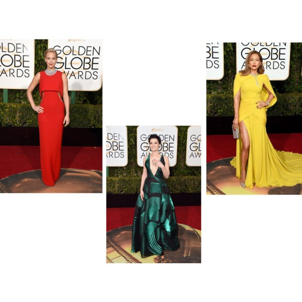 Awards season is upon us and last nights Golden Globe red carpet did not disapoint. Fashion walked the carpet in all forms, from plunging necklines to jewel tone gowns and even pockets made a statement! My three favorites are two fashion heavy hitters that you would expect to see on every best dressed list and a newcomer who came out swinging for the fence.  Jennifer Lawrence was Hollywood perfection in a modern cut-out Dior Couture gown and Chopard statement necklace.   Jennifer Lopez showed everyone that she can still be extremely sexy without showing a lot of skin in her Giambattista Valli marigold gown complete with cape and Harry Winston jewels.  Newcomer, Jaimie Alexander, was stunning in her green and black patchwork Genny gown with a plunging neckline and emerald ring and earrings. And this gown has POCKETS!   Now onto the OSCARS! I just can't wait to see what they have in store for us fashion lovers!