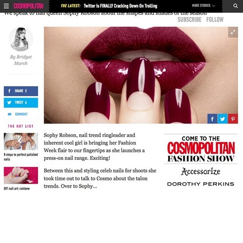 @Cosmopolitanuk starting so show previews of the nail campaign I shot for the incredibly talented @sophynails  cosmopolitanmagazine