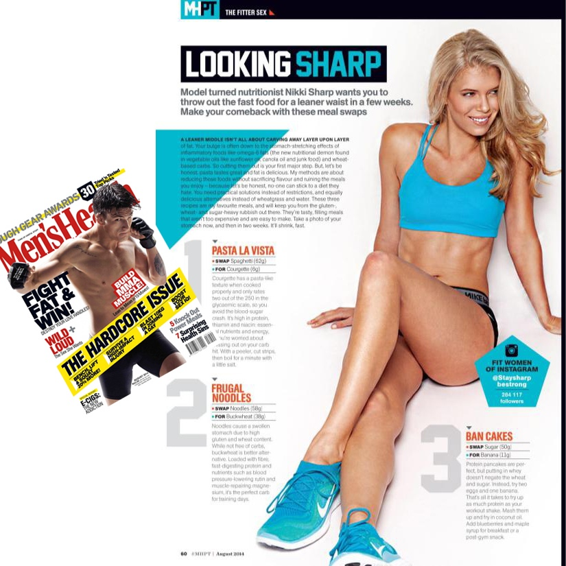 My work featured in the August issue on Men's Health South-Africa with fitness and health guru Nikki Sharp   wewillbefitandhealthy