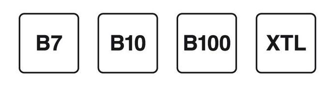 De nieuwe codes voor diesel. B7 is de reguliere diesel en bevat 7% biobrandstof. In B10 zit 10% biobrandstof. B100 is pure biodiesel. XTL is een synthetische brandstof die niet van aardolie is gemaakt.