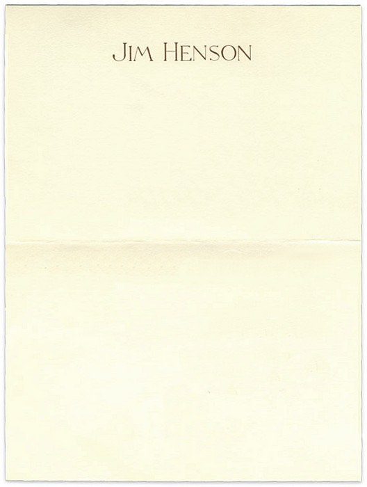 letterheady: Jim Henson, 1988 | Source The personal letterhead of Jim Henson, who would've turned 76 today.