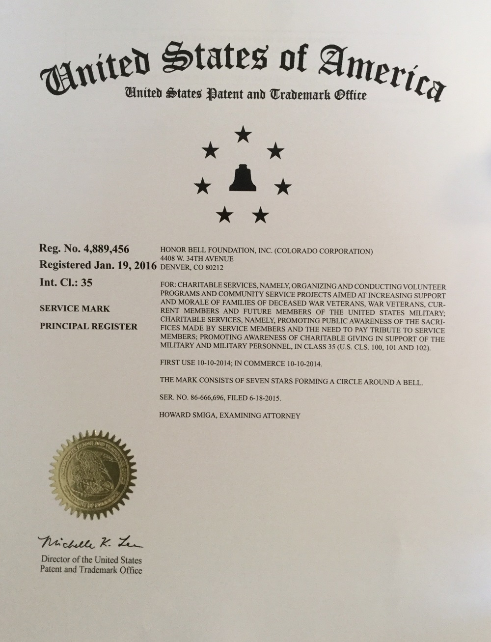 Our trademark registration letter.