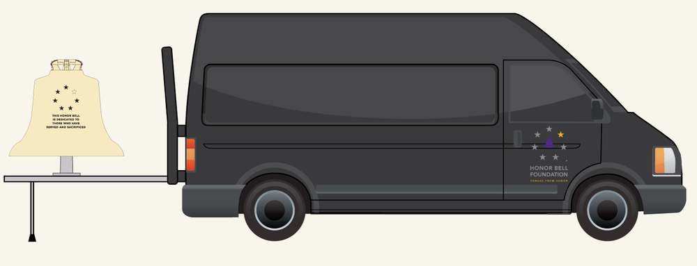 Conceptual rendering of the Honor Bell van with the Honor Bell on its extended tray, ready for use.