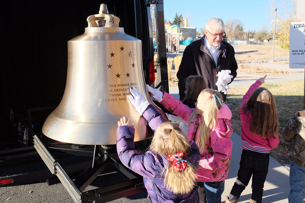 The Honor Bell visiting Kiowa Elementary school in eastern Colorado