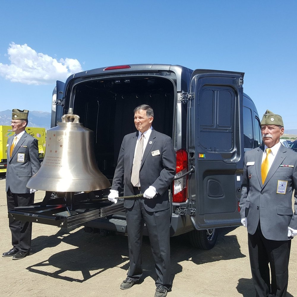 Steve Best, center, tolling Bell Honors at the Groundbreaking for the Pikes Peak National Cemetery in May, 2018
