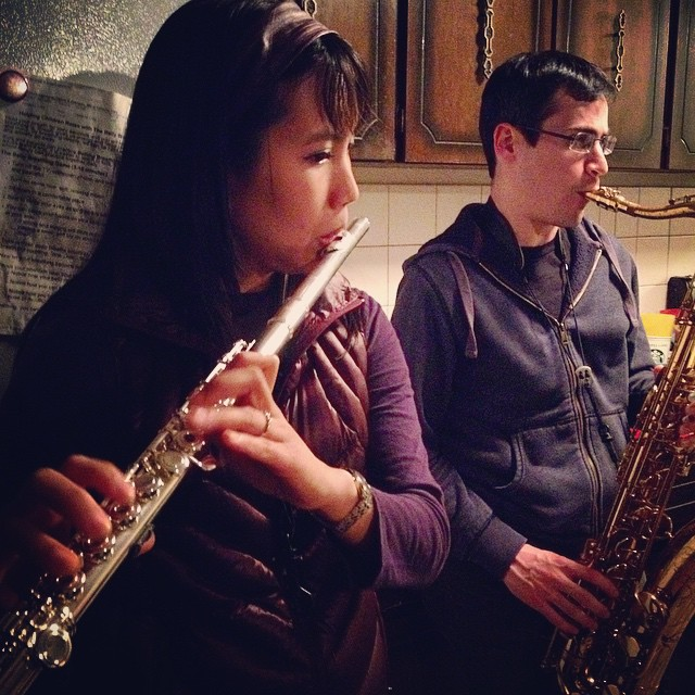 @piccoloweaponx and #AaronWolff killing it at practice Ninee and @miguel_elshow will be performing tonight at The Urban Onion with THE PIERCE COLLEGE BIG BAND 7-8pm. Come check it out! #WolffWednesday