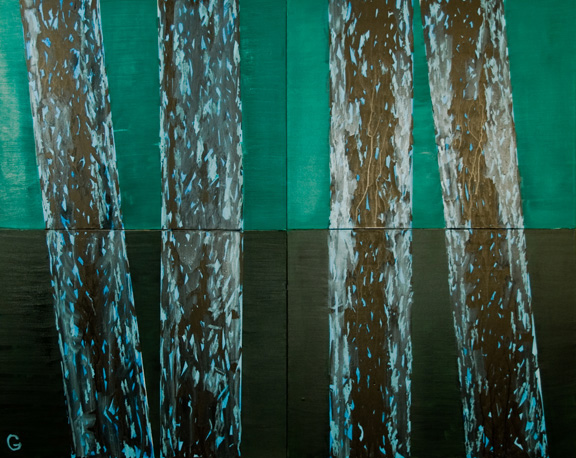 Irving Guyer, Pinetum VI (Evening I), oil, acrylic, ink on four-part canvas, 48 x 60 inches, 2007