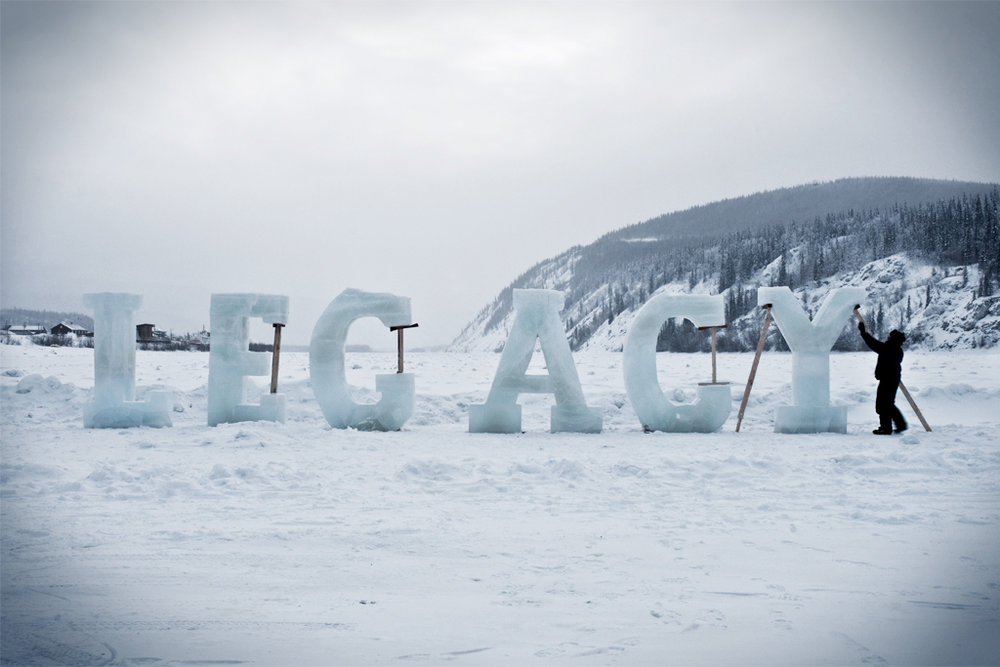 Nicole Dextras, Legacy, Ice, 8 foot high ice text on the Yukon River, Dawson City, Yukon.