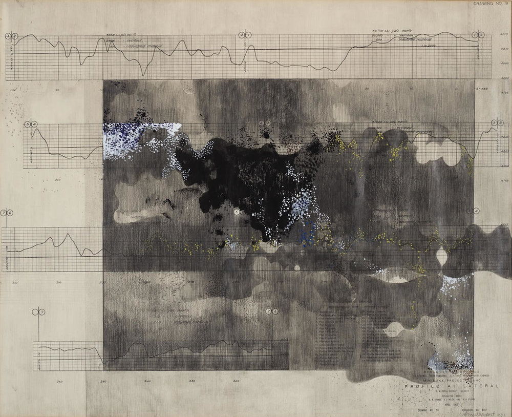 "Sonya Rapoport, ""Survey Chart No. 19,″ 1971. Acrylic and graphite on found antique survey chart, 22″ x 18"". Collection of BAMPFA."