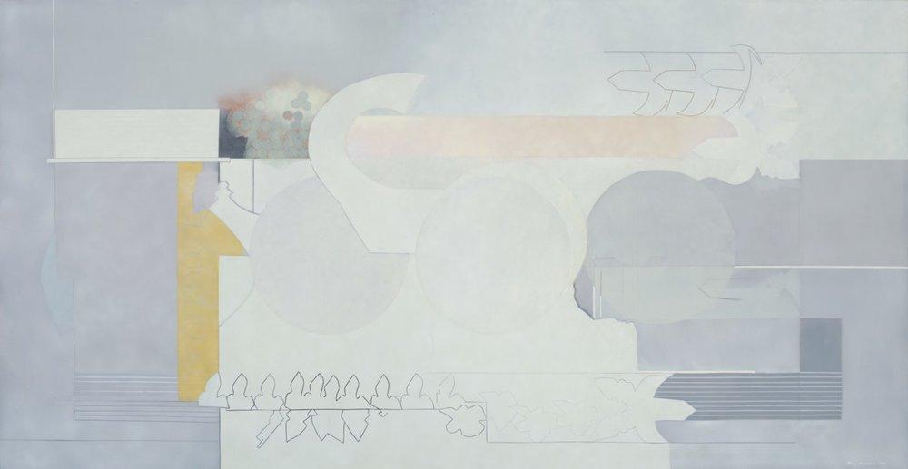"Sonya Rapoport,  Lavender Grey , 1973. Pencil, acrylic, and airbrush on canvas, 72"" x 142""."