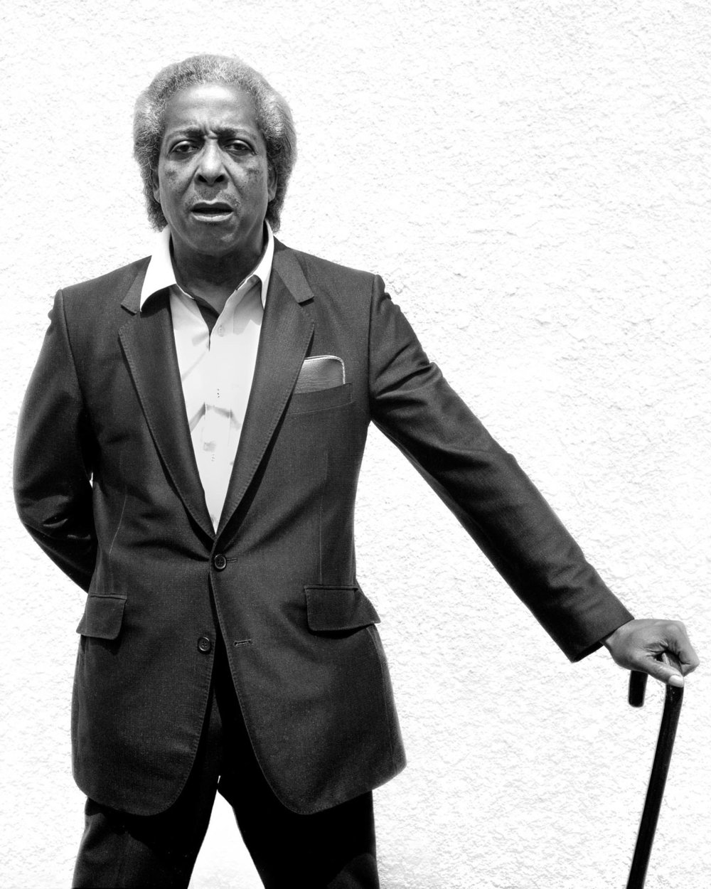 """Jeannie O'Connor, West Berkeley Senior Center portraits, """"Riley with his Cane,"""" 20 x 16 inches, silver gelatin print, 1984"""