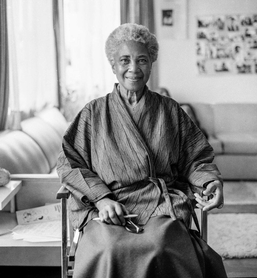 """Jeannie O'Connor, West Berkeley Senior Center portraits, """"Maudelle Shirek,"""" 20 x 16 inches, silver gelatin print, 1984"""