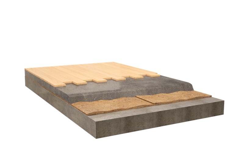 FLOATING SLAB WITH WOOD FLOORING