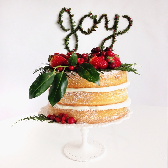 Naked cake by Brandy Brown of Marabou Design.