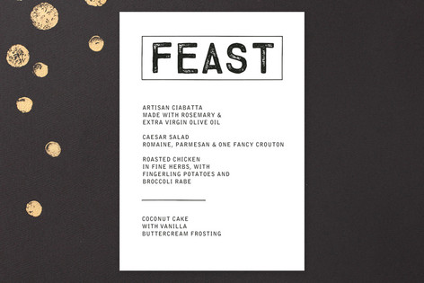 Feast Menu Card
