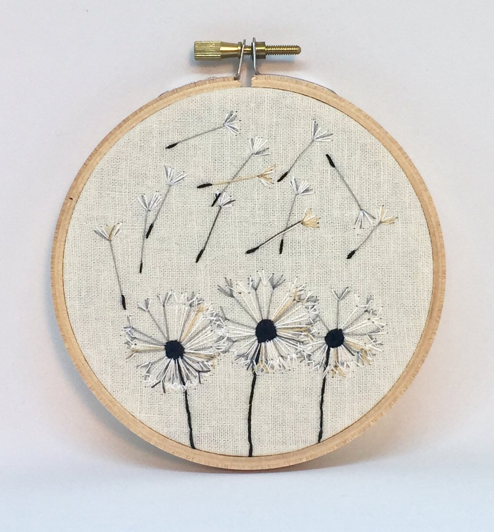 Three Dandelions embroidery hoop