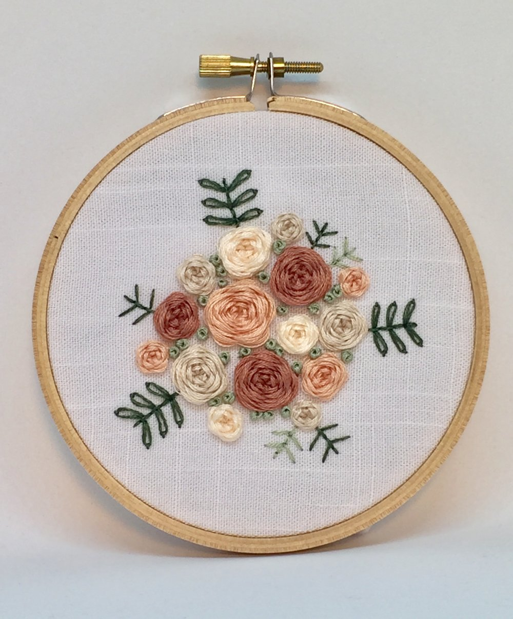 Pink florals embroidery hoop
