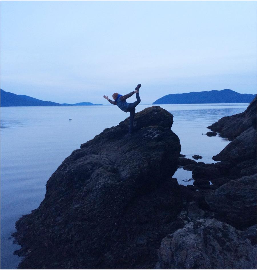 Dancer Pose (Natarajasana) over Doe Bay, Washington