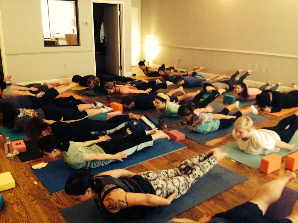 We had our maximum number of guests here in our Fredericksburg Yoga Studio doing Locust variations (Salabhasana).