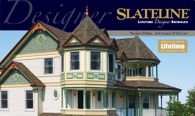 "GAF Slateline Lifetime Designer Shingles    ""Bold shadow lines and tapered cut-outs create the appearance of depth and dimension"""