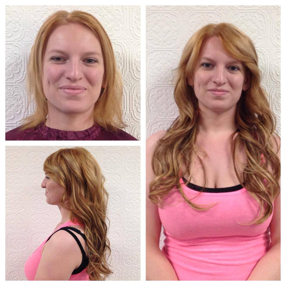 Red head color and hair extensions