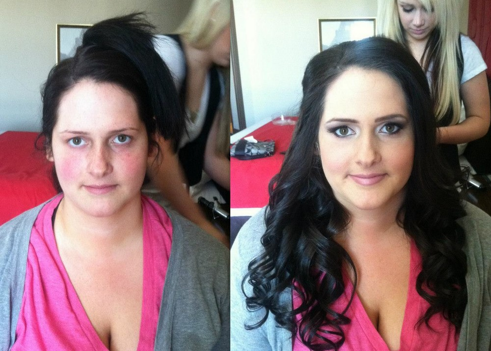 Half up half down bridal hairsytle with eye popping makeup