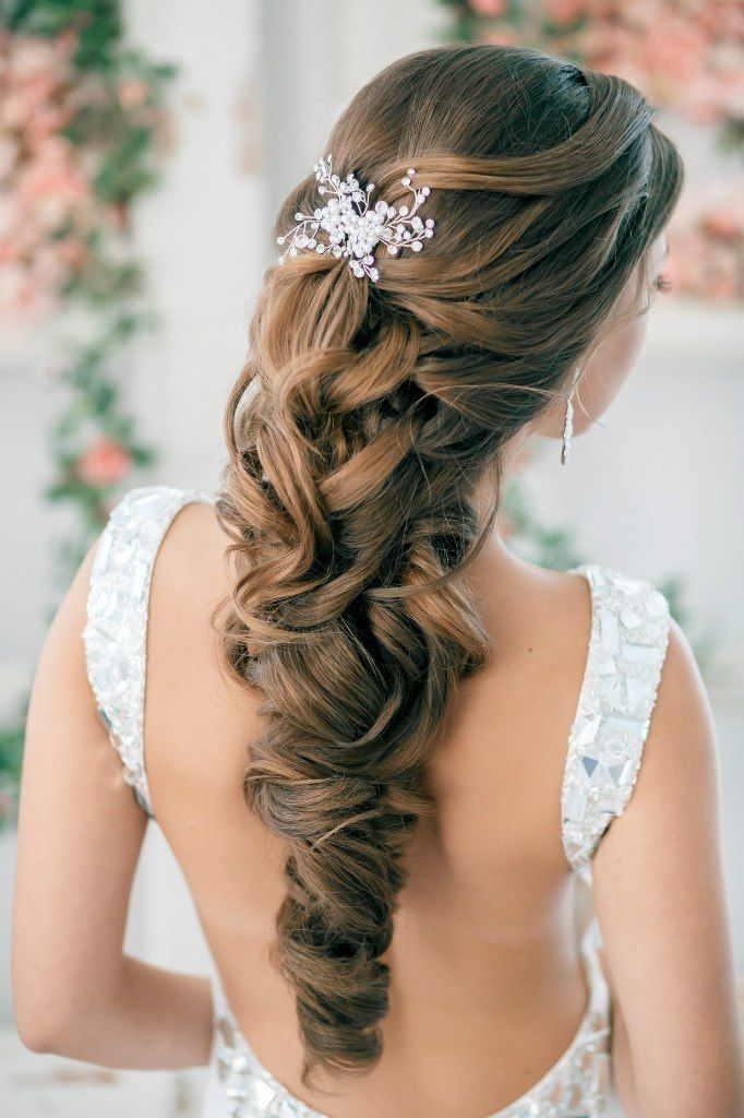 This is an amazing textured cascading style. The bottom would be difficult to keep into that one curl throughout the night, but would last for walking down the isle and photos.  Hair texture needed: Thick  Hair length needed: Long  Recommendations: Would add  extensions  to almost anyones hair to have this full of a look.
