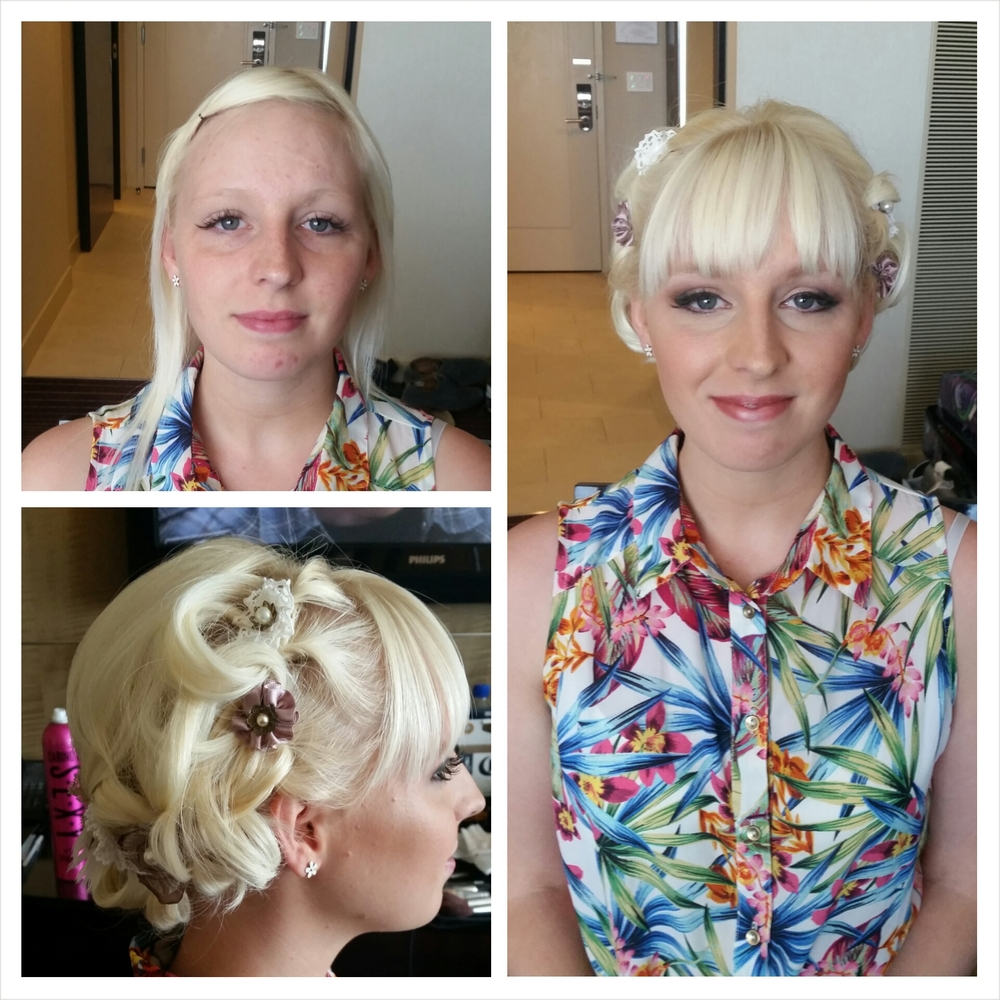 (Another great  wedding hair and makeup  before and after) This unique style has texture all the way around the hair line and is a great updo to add flowers or accessories to.  Hair texture needed:  All types  Hair length needed: All types  Recommendations: It is best to have bangs for this style so that the hair at the forehead doesn't get in the way of seeing the texture of the updo from the front. This is an easy style to do with short hair