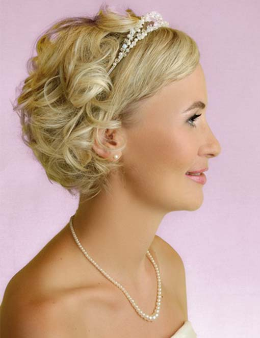 This is a great way to add formality to a very short hairstyle. The headband style tiara helps separate the straighter look of the front from the curled look of the back Hair texture needed: Any Texture Hair length needed: Very short Recommendations: The back of your haircut will need to have a lot of layering for this look. A bob or smooth A-line cut will not work.