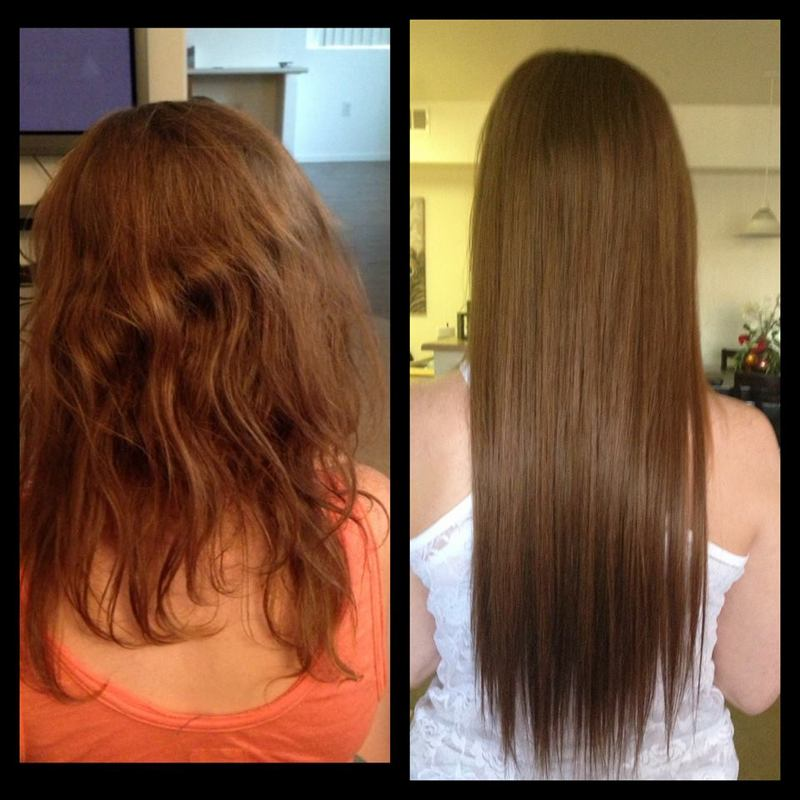 Celebrity micro bead extensions before and after