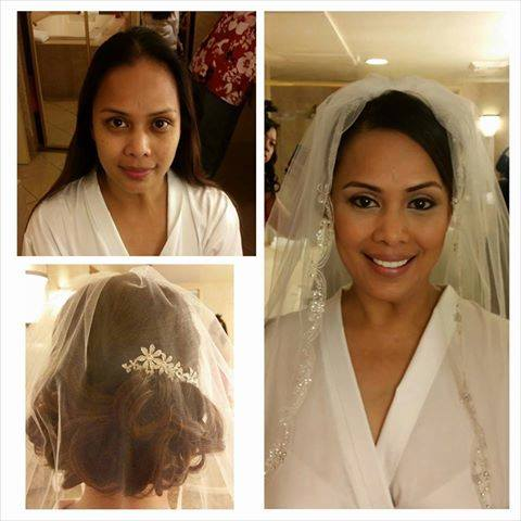 updo with veil and natural/medium makeup