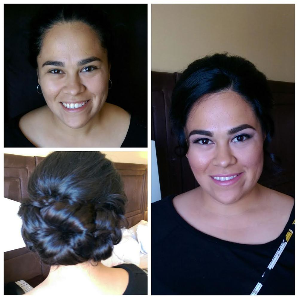 low smooth curly bridal bun
