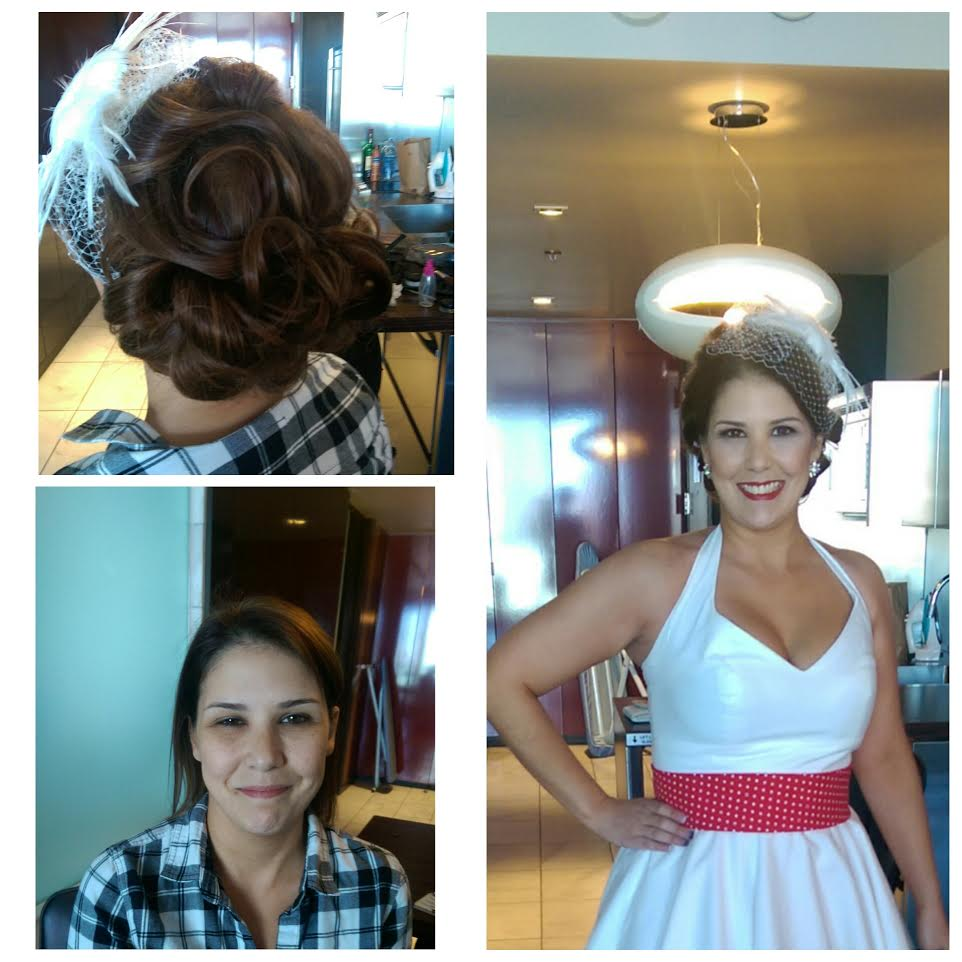 Vintage pin-up hair and makeup with bird cage veil