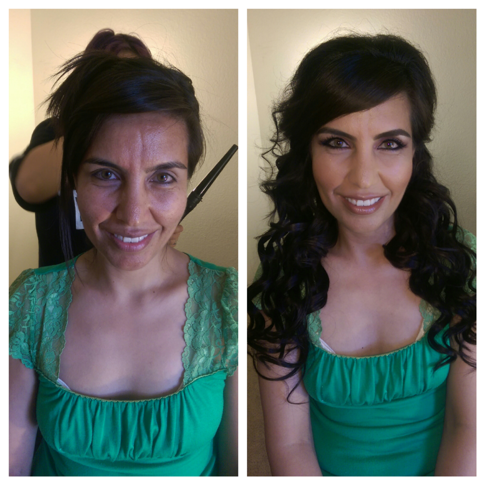Gorgeous Middle Eastern bride with Clip-in extensions and makeup