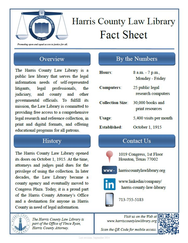 Harris County Law Library Fact Sheet