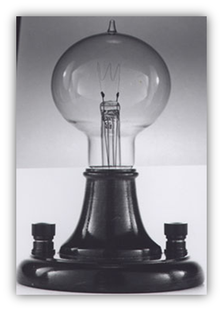 Photo of one of Thomas Edison's first light bulbs - click to enlarge.