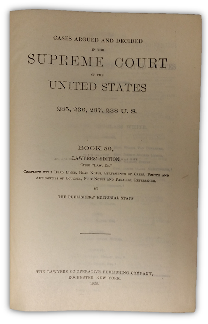 Title page of Book 59 of Lawyer's Edition - Click to enlarge.